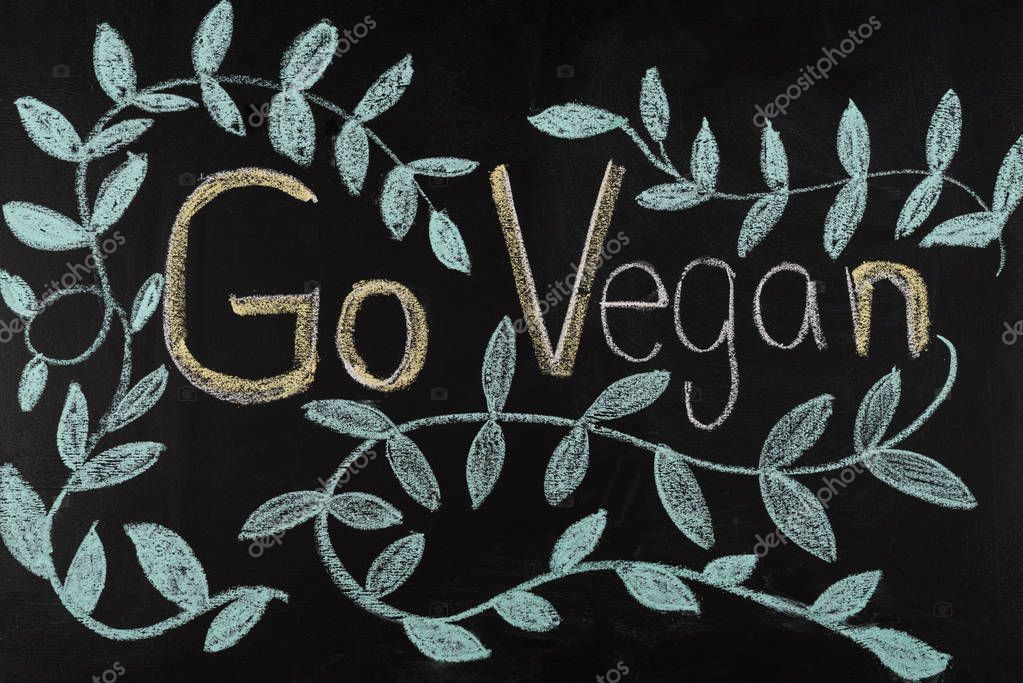 go vegan lettering on blackboard