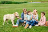 rodina se psem na trávě