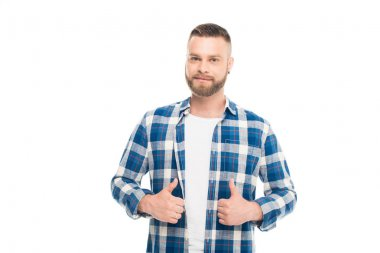 Bearded man with thumbs up