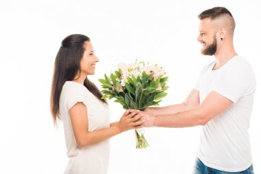 Caucasian couple with bouquet