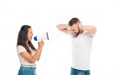 Woman screaming on man