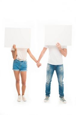 couple with blank banners