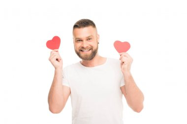 bearded man with red hearts