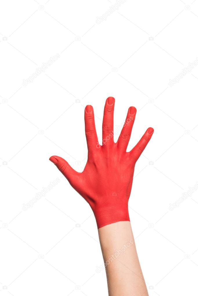 hand in red paint