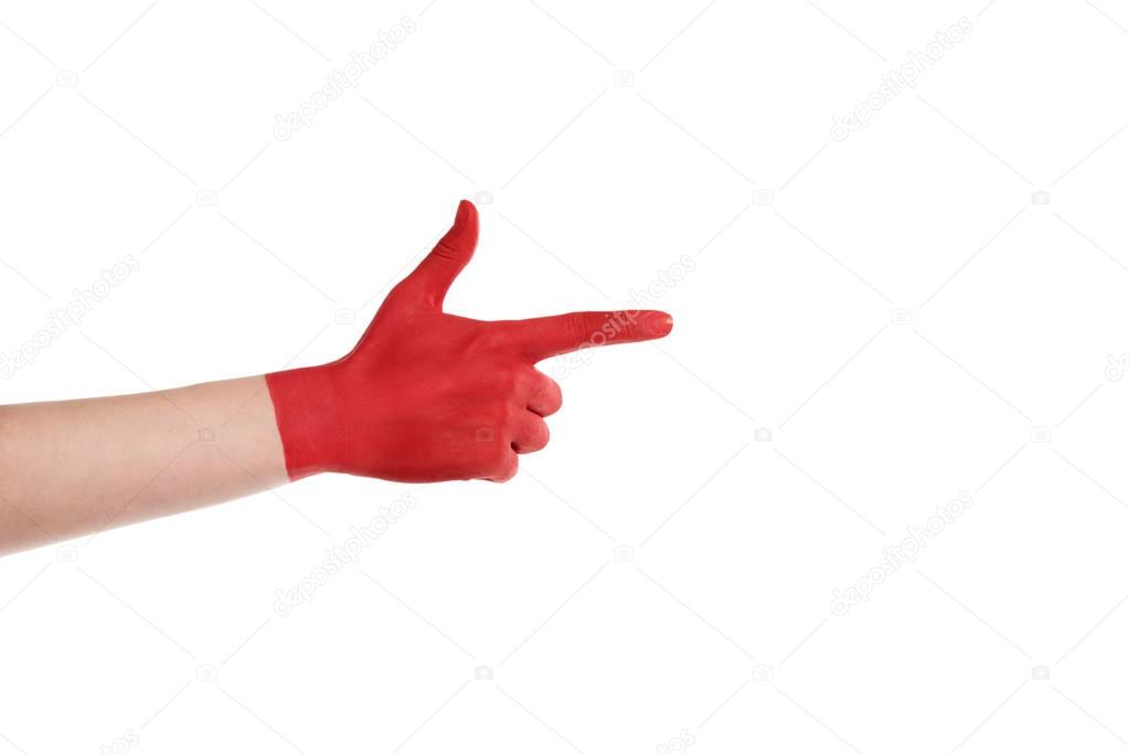 pointing hand in red paint