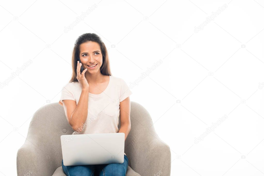young woman using digital devices