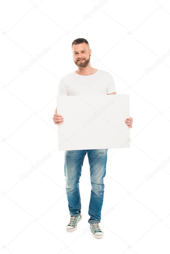 bearded man with blank banner