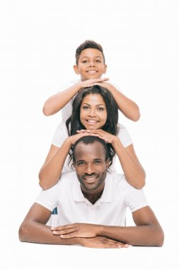 happy african american parents with son
