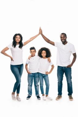 african american family giving high five