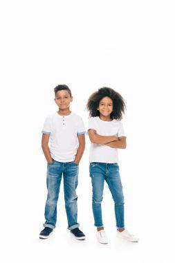 happy african american siblings