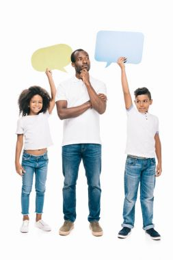 african american family with speech bubbles