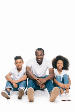 happy african american father with kids