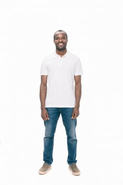 Handsome young african american man smiling at camera isolated on white stock vector