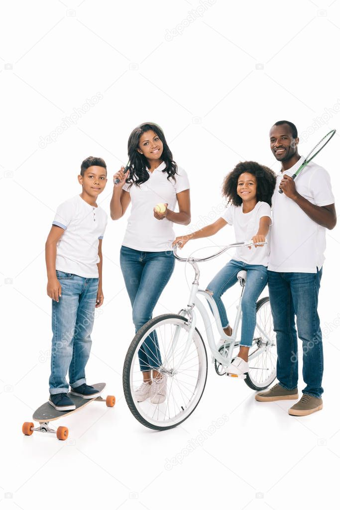 african american family with sport equipment
