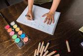 Fotografie Kind schreibt Mathe-Aufgabe
