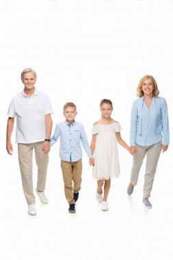 Grandparents and grandchildren holding hands