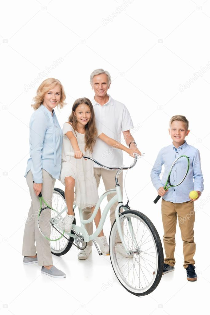 happy grandparents and kids