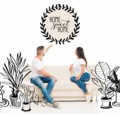 Fotografie attractive couple on couch