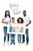 Photo african american family with banner