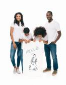 Photo happy african american family with banner