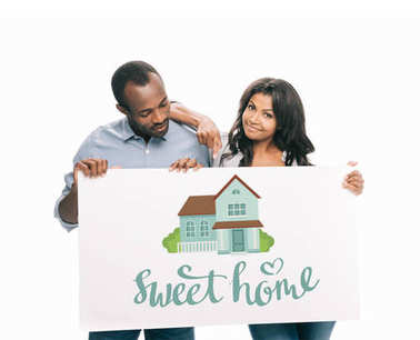 African american couple with banner