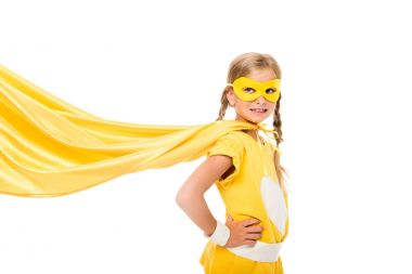 superhero girl with waving cape