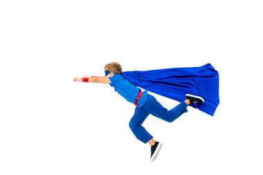 Side view of flying little superhero boy isolated on white stock vector
