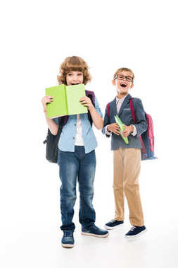 Excited schoolboys with books