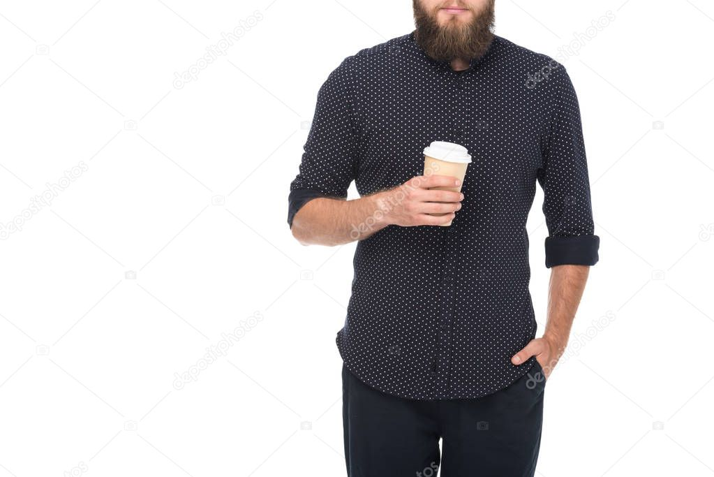 man with coffee to go