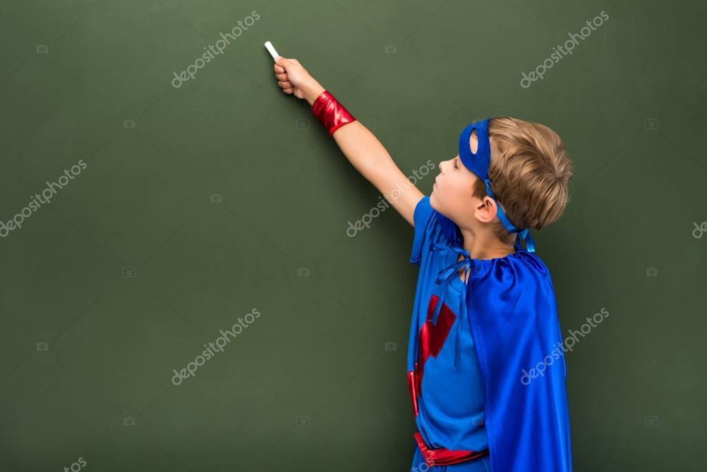 schoolchild in superhero costume