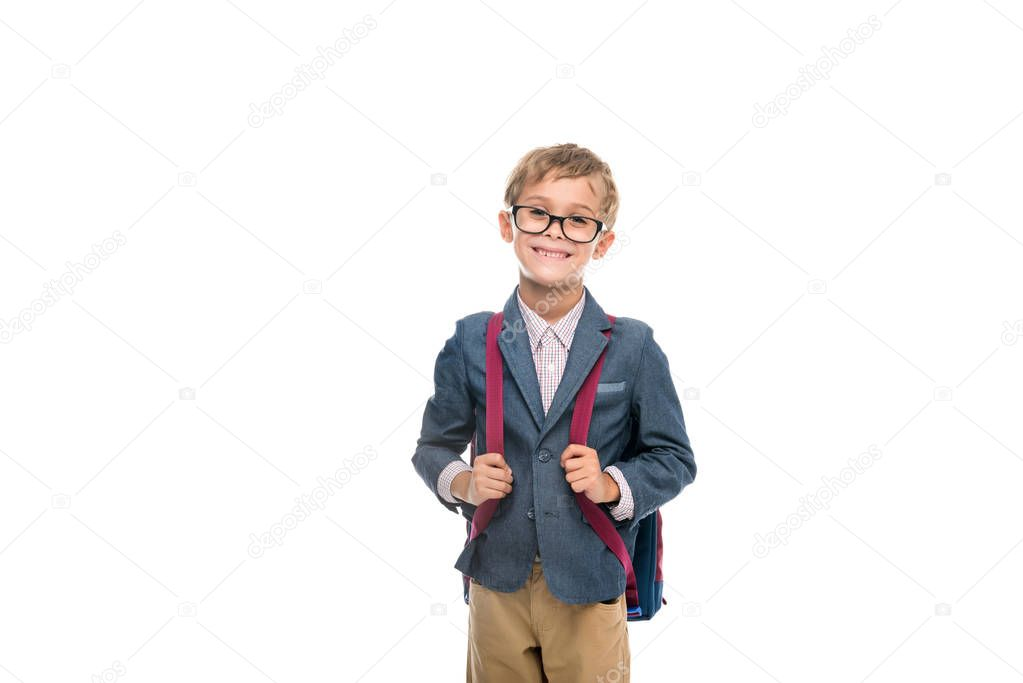 adorable schoolboy with backpack