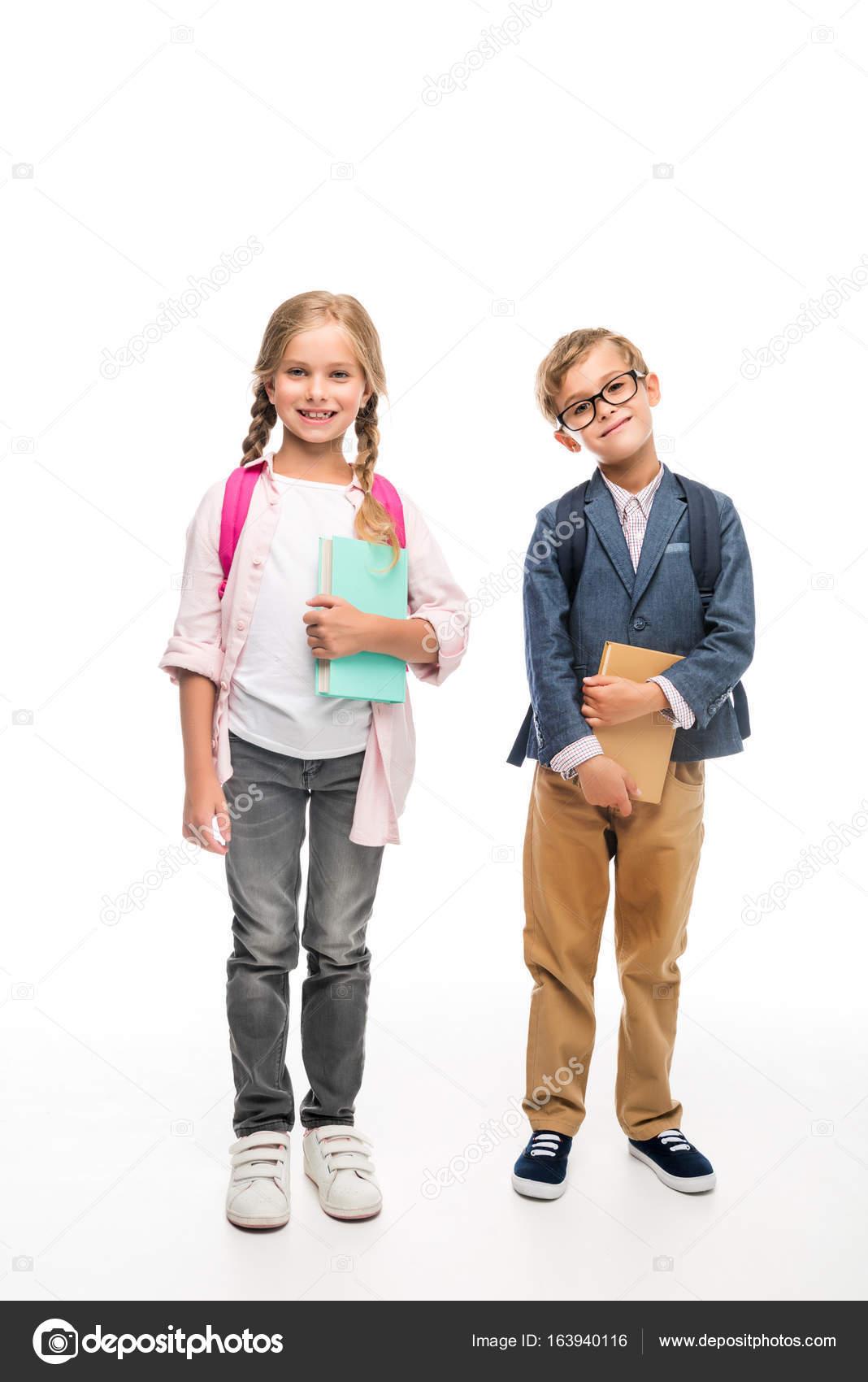 classmates with backpacks and books stock photo allaserebrina