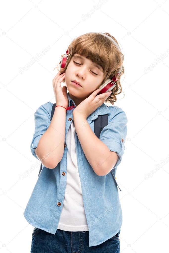 schoolboy listening music
