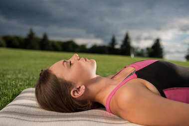 woman resting after yoga