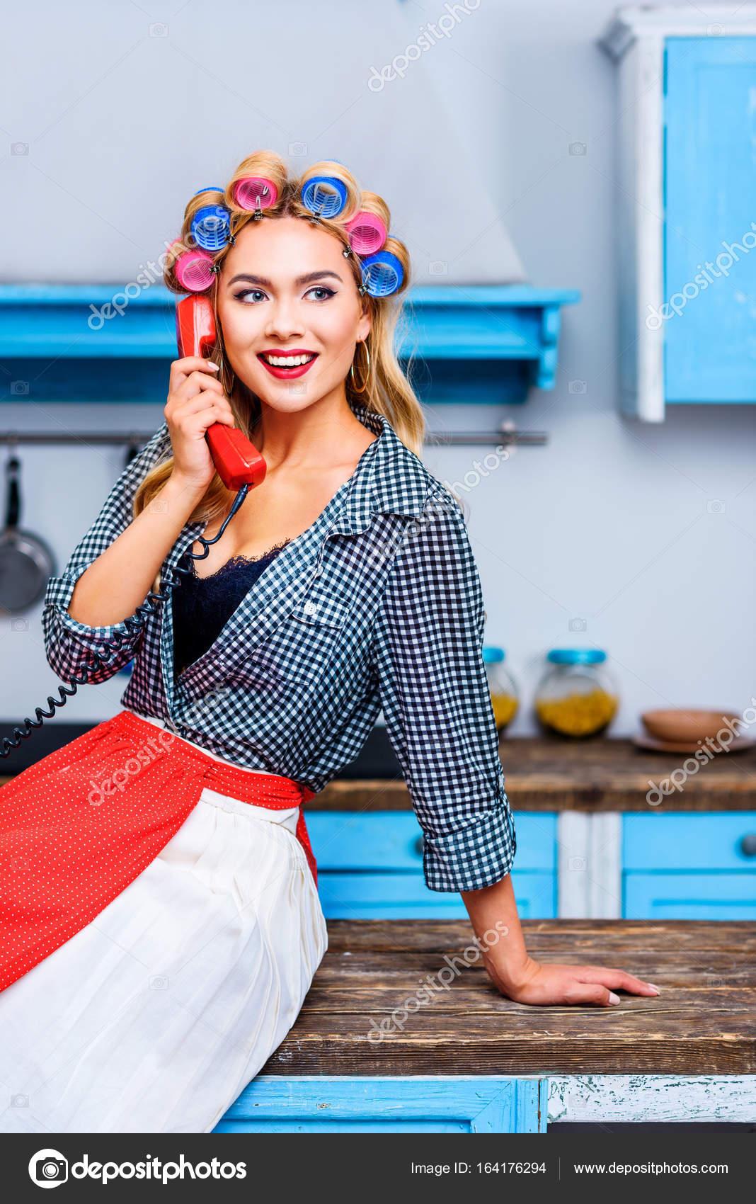 woman talking on telephone — Stock Photo © AllaSerebrina #164176294