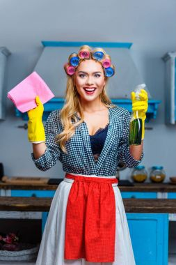 housewife with rag and spray
