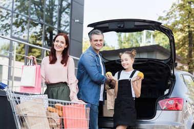 family packing shopping bags in car