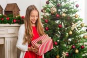 Photo girl with christmas gift