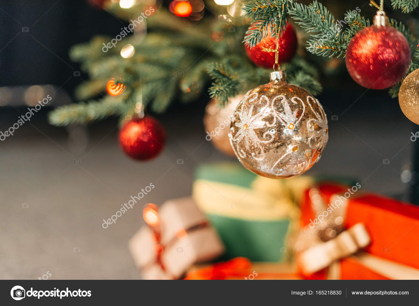 High Quality Baubles On Christmas Tree U2014 Stock Photo