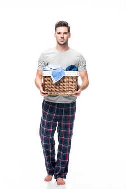 man with basket of laundry