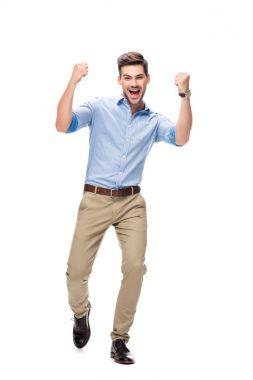 handsome man celebrating victory