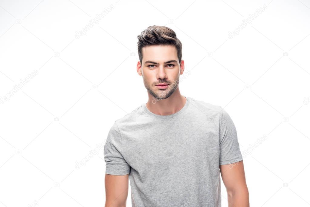 man in grey t-shirt