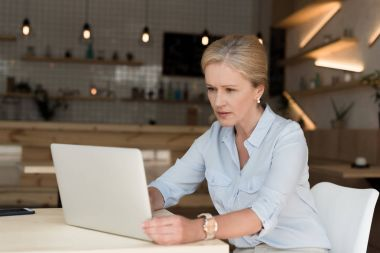 Businesswoman with laptop in cafe