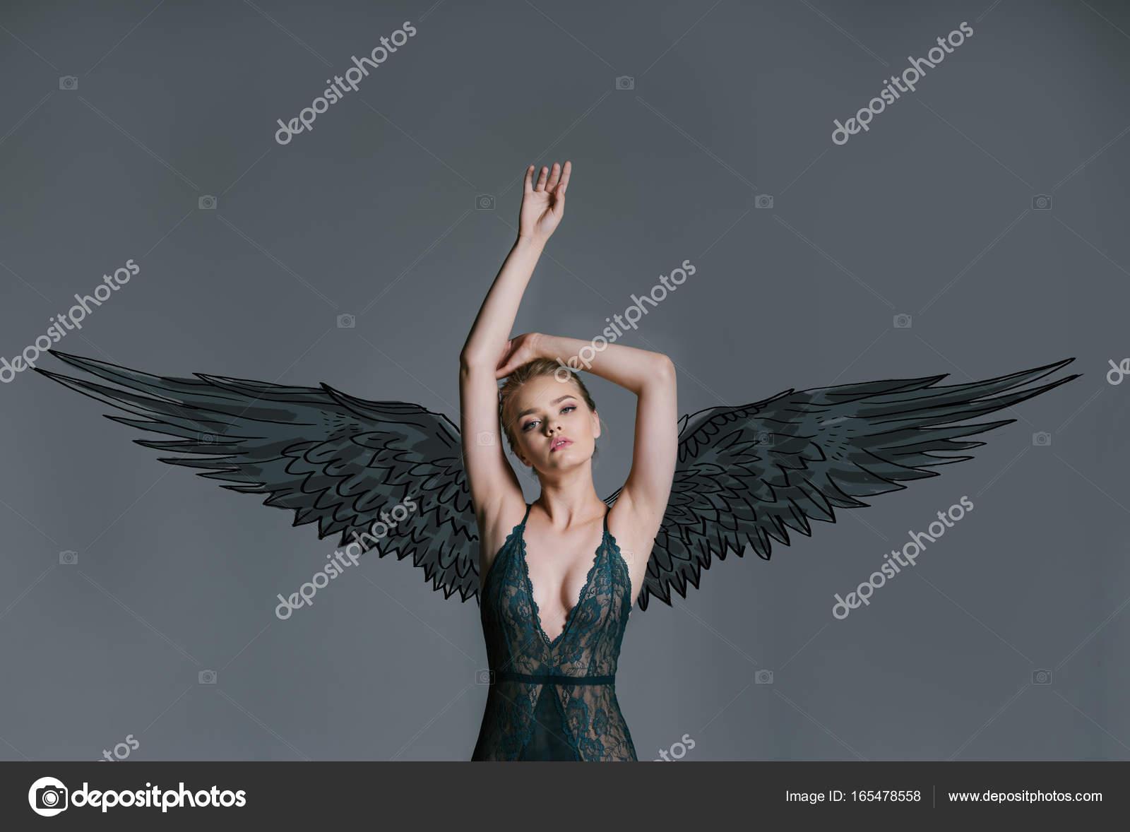 Young Girl Dark Angel Stock Photo C Allaserebrina 165478558