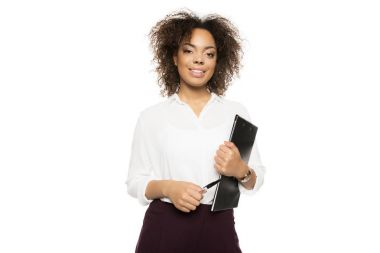 african american businesswoman with clipboard