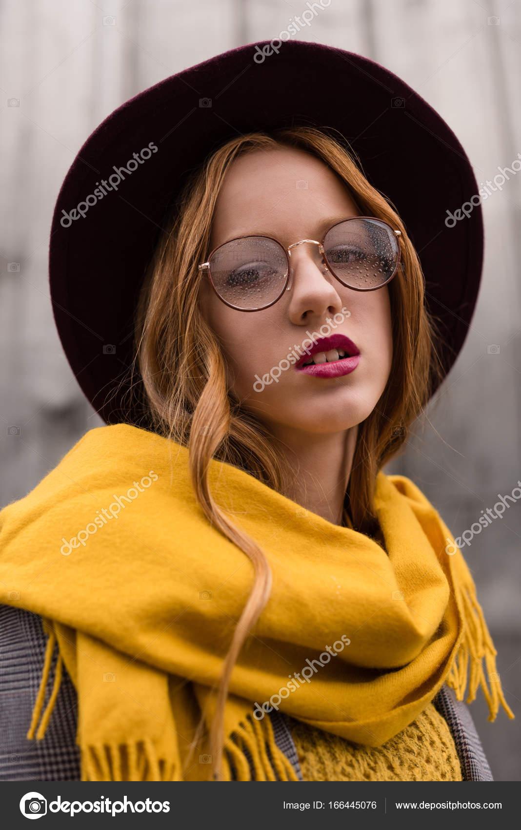 49cb57ed61f stylish redhead girl in eyeglasses — Stock Photo © AllaSerebrina ...
