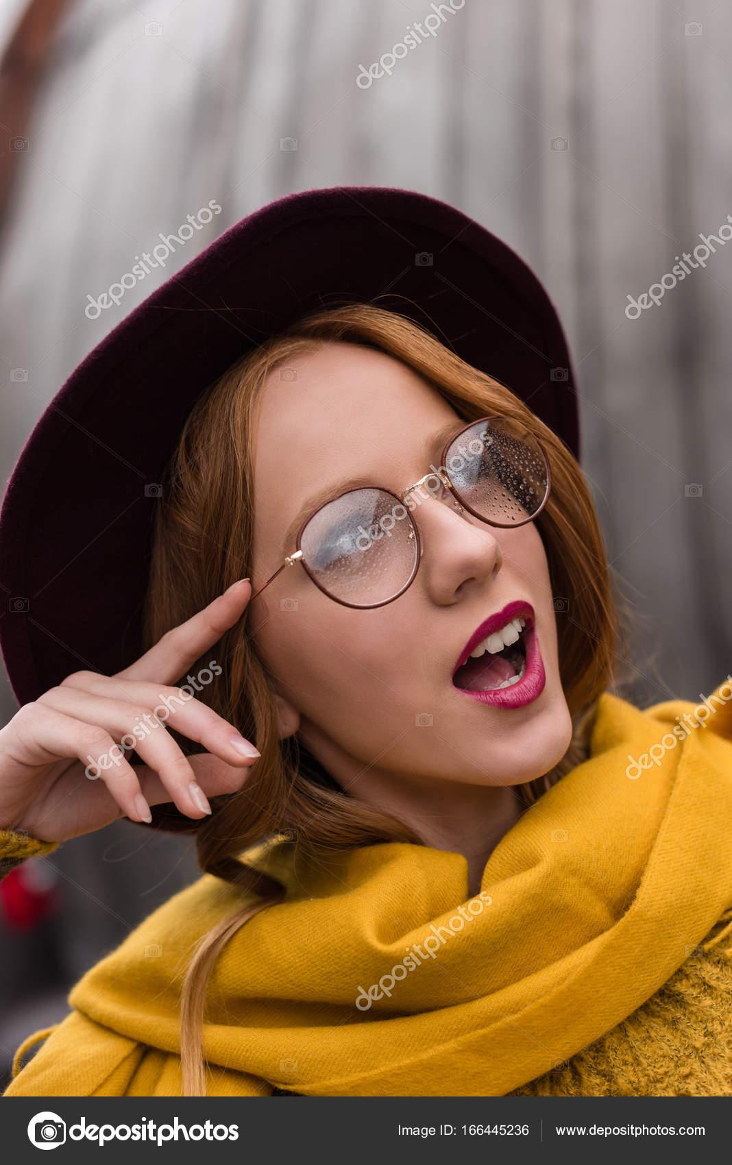 4e60f8498ad excited girl in eyeglasses — Stock Photo © AllaSerebrina  166445236