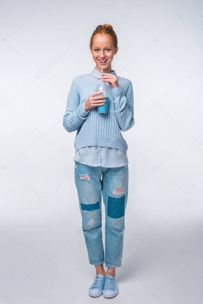 Girl with blue beverage
