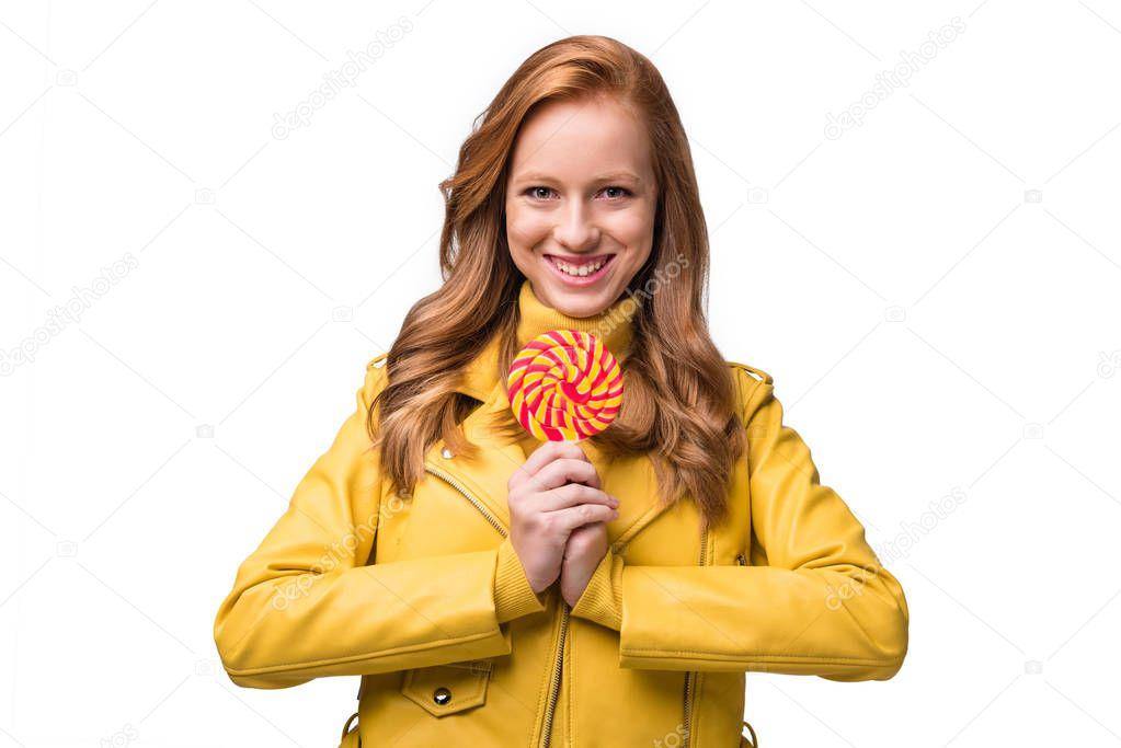 stylish girl with lollipop