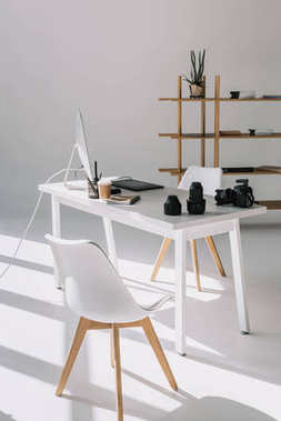 office with graphic tablet and camera